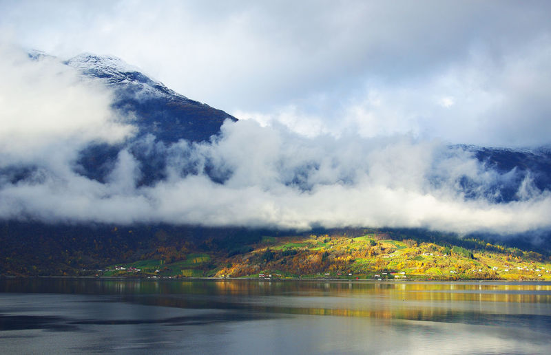 Norway Beauty In Nature Cloud - Sky Day Hardanger Lake Landscape Mountain Mountain Range Nature No People Outdoors Reflection Scenics Sky Tranquil Scene Tranquility Travel Destinations Tree Water Waterfront