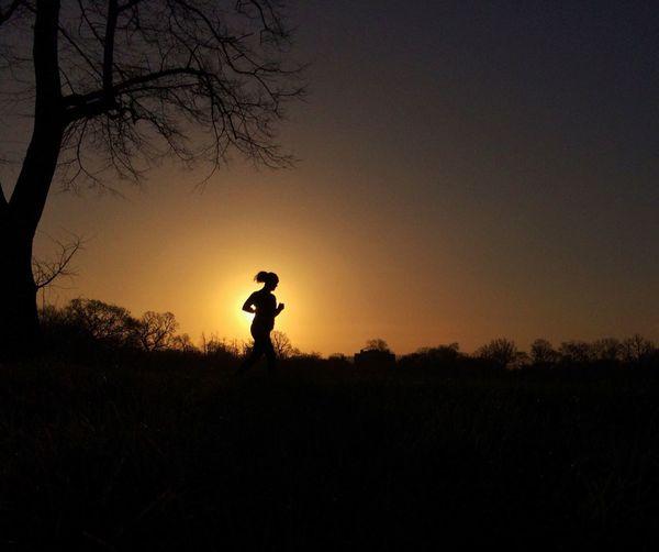 Women running in the park Fitness Fit Run Running Workout Sunrise Sun Silhouette