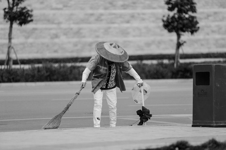 Sanitation worker working in park