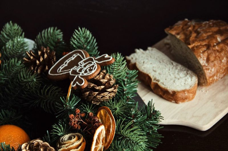 Christmas morning Food Celebration Christmas Indoors  Food And Drink Bread Tree Close-up Christmas Decoration Nature Table Decoration Holiday Christmas Ornament christmas tree Baked Plant No People Still Life Pine Tree