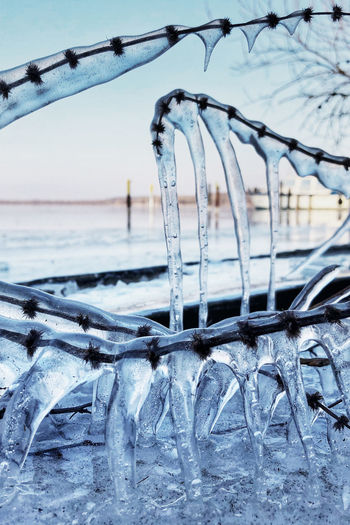 Brandenburg Nature Winter Art Beauty Beauty In Nature Blue Close-up Cold Cold Temperature Day Focus On Foreground Frozen Ice Icicle Lightblue Nature No People Outdoors Sea Season  Sky Snow Water Winter