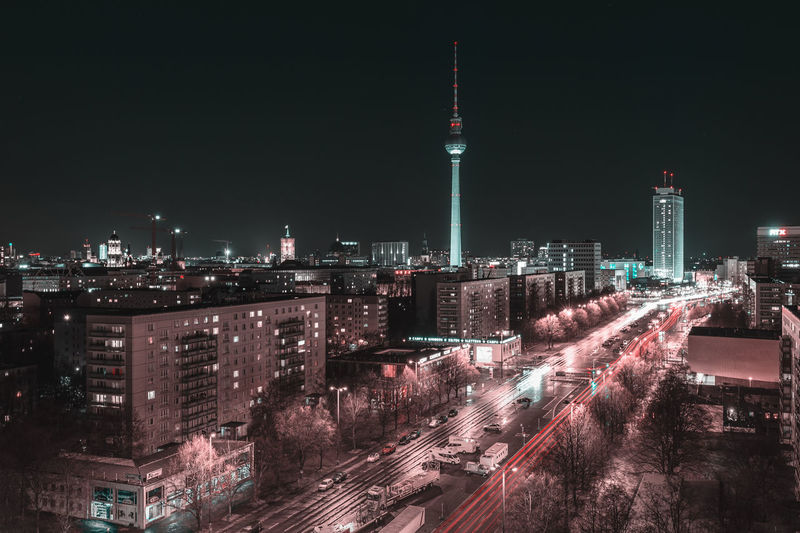 Berlin Alexanderplatz Alexanderplatz Berlin Berlin Mitte Fernsehturm Architecture Building Exterior Built Structure City Cityscape Communication Illuminated Light Trail Long Exposure Modern Motion Night No People Outdoors Sky Skyscraper Tall - High Tower Travel Destinations Urban Skyline
