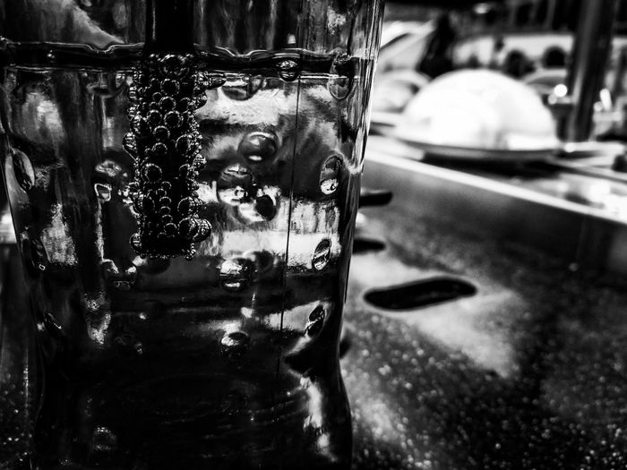 Close-up No People Low Angle View Blackandwhite Photography Yosushi Dining Out, Indoors  SushiBar Food Courts Indoors  Bubbles In Glass Fizzy Drinks Glass Reflection Drinking Glass Drinking Straw Drinking Coke Drinks With Friends Day Shiny