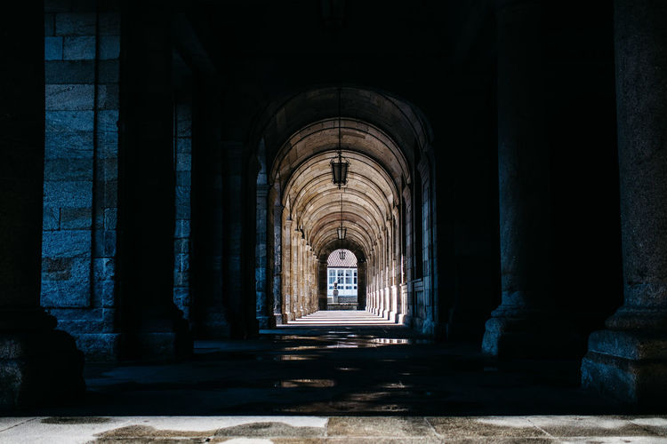 Empty Colonnade At Old Building