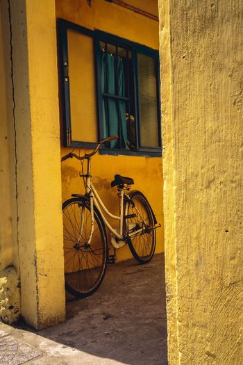 Bicycle parked against yellow window