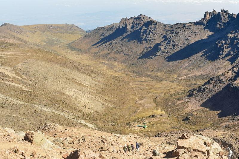 Scenic volcanic mountain landscapes against sky, mount kenya national park, kenya