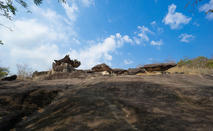 Panoramic view of rock formations on landscape against sky