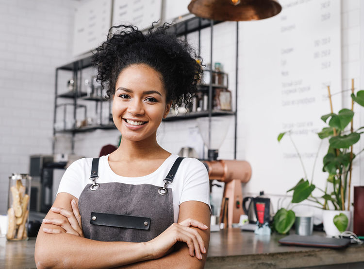 African American Apron Copy Space Service Standing Waitress Young Barista Businesswoman Cafeteria Indoors  One Person Owner Smiling Young Adult