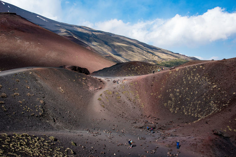 Scenic view of  etna land against sky
