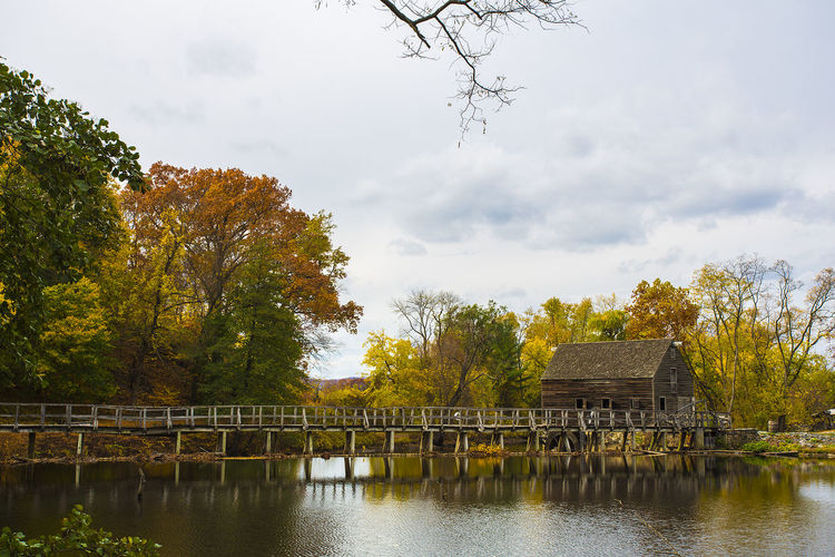 Beauty In Nature Bridge - Man Made Structure Footbridge Growth Lake Nature New York Outdoors Park - Man Made Space Sleepy Hollow Tranquil Scene Tranquility Tree Water Waterfront Landscape