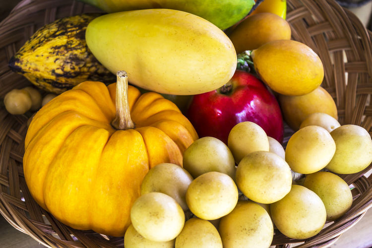 Close-up of fruits and pumpkin in basket