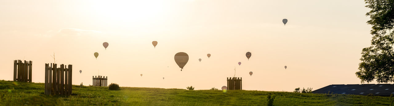 Many hot air ballons fly of in to the distance at sunset over the Worcestershire countryside as part of the Ragley Hall based Air Festival 2018. Basket Activity Air Festival Ballon Crop  Event Farm Farmland Field Flight Floating Gathering Golden Hour Hobby Hot Air Ballon Low Angle Low Flying Many Pattern Sunset Transportation Balloon Hot Air Balloon Sky Flying Air Vehicle Plant Mid-air Grass Nature Environment Panoramic Sun Travel Destinations Landscape Scenics - Nature No People Travel History Outdoors
