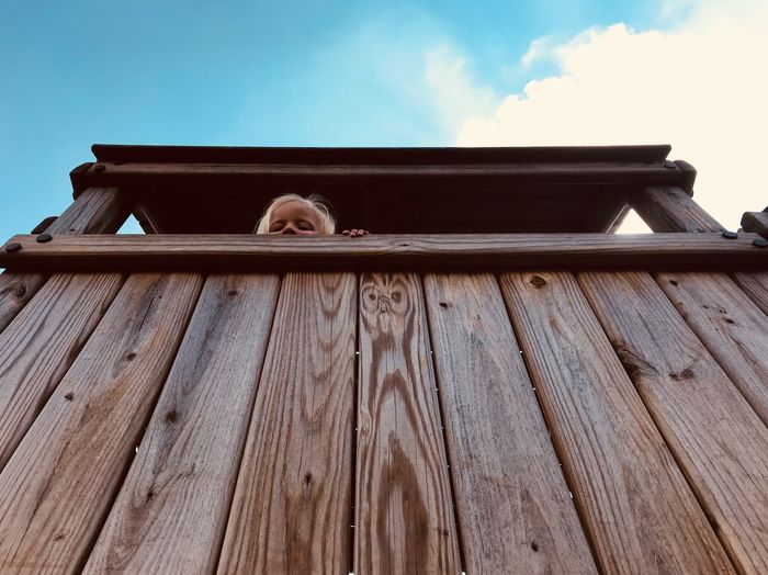 I see you! Treehouse Peeping Out Girl Built Structure Architecture Low Angle View Building Exterior Roof Sky Day
