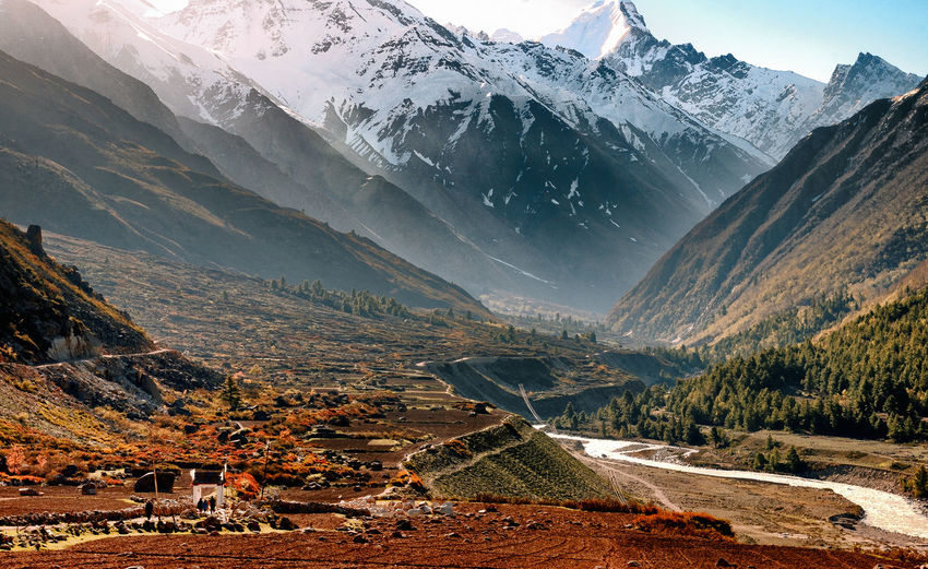 Scenic view of chitkul valley