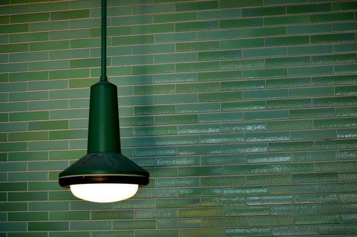 Bvg Design Ubahn Berlin Green Color Brick Wall Lighting Equipment Light Bulb No People Indoors  Green Color Green Lantern  Lamp Design Deckenleuchte Ceiling Lights
