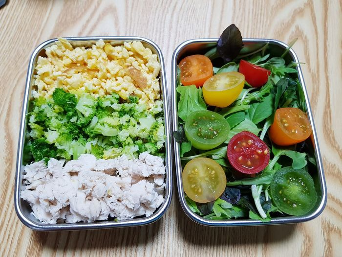 Tomato Salad Rice Korea Shoot Sprout, Egg Box Lunch EyeEm Selects Fruit Directly Above High Angle View Table SLICE Close-up Food And Drink Egg Carton Omelet