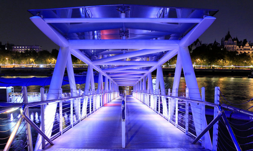Illuminated London Eye Pier Over Thames River In City At Night