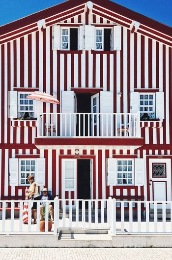 Summer Stripes Aveiro Portugal Architecture Built Structure Building Exterior Communication Day Western Script Outdoors