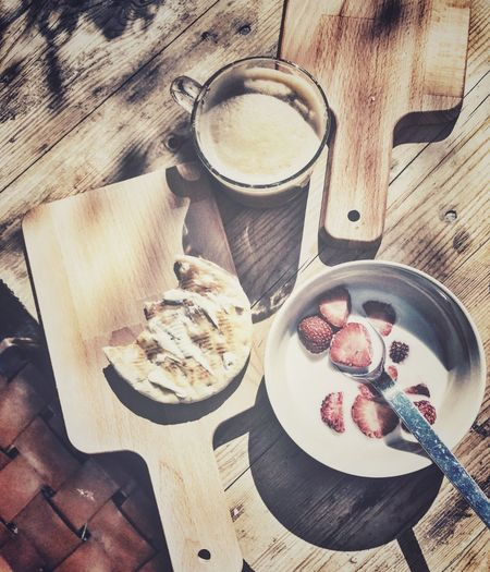 Breakfast Strawberry Milk Wood - Material Cutting Board Table Food And Drink Coffee Time For Breakfast  High Angle View Fruit Garden Outside Bread