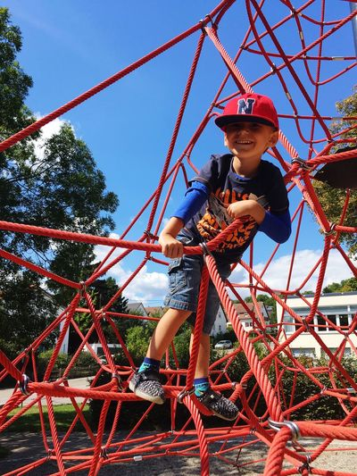 Child Sporty Boy Childhood Child Playground One Person Full Length Rope Casual Clothing Day Outdoor Play Equipment Outdoors