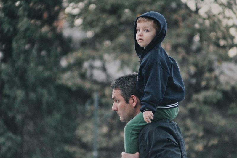 Boy looking away outdoors