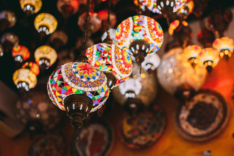 Close-up of multi colored lights for sale in market