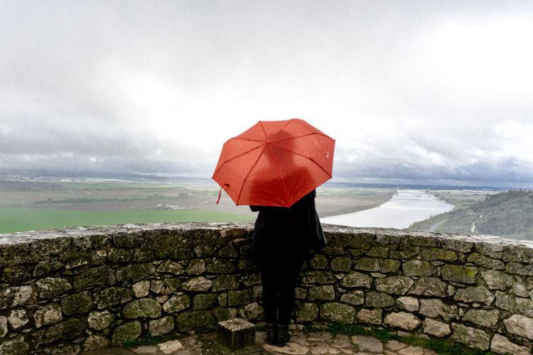 Full length rear view of man standing in rain