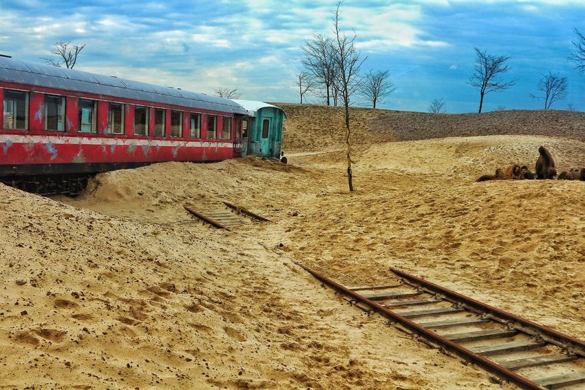 Fresh On Eyeem  Public Transport Derailed Derailed Train Desert Desert Scene Sand Dry Old Trains Abandoned Train