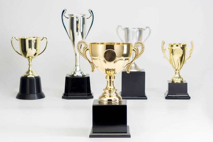 Variety of Trophy Cup on white background Trophy AWARD Success Achievement Winning Still Life Competition Indoors  Studio Shot No People Gold Colored Shiny White Background Gold Group Of Objects Pride Emotion Side By Side Reflection Metal Silver Colored