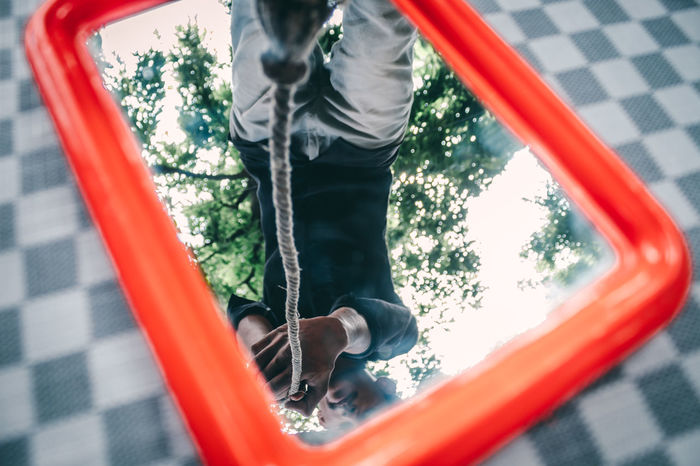 Portrait Rope Climb Conceptual Grass Blur Dimension Man Climbing Equipment Pulley Tied Up Tied Clothespin Safety Harness