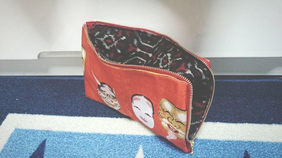 💼 handmade pouch. Handmade Remake Pouch ハンドメイド リメイク 端切れ 半幅帯 能面 翁 般若 和 和物 和裁 手芸
