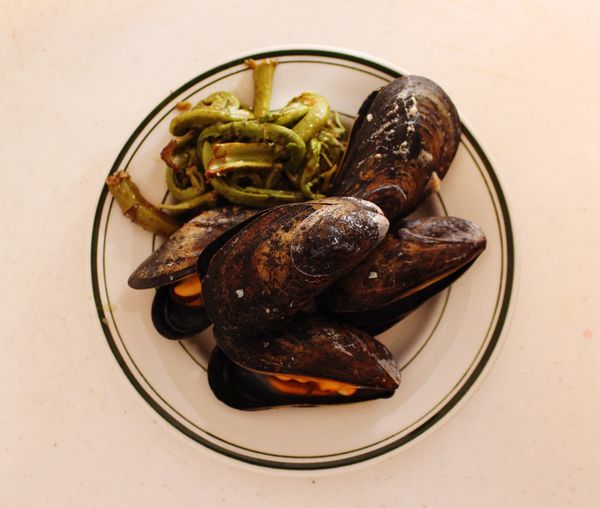 Directly above shot of mussels in bowl on table