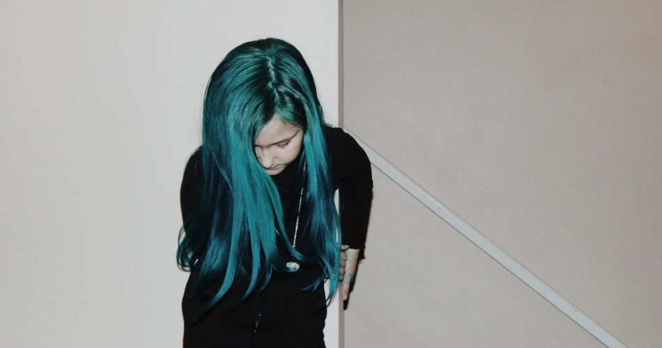 Black Bright Hair Flash Front View Girl Hair One Person Real People Turquoise