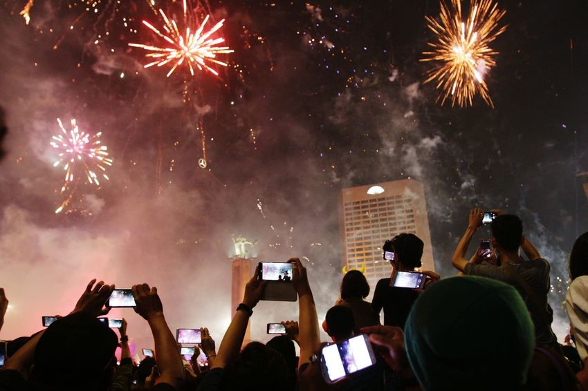 new year 2018 Photography Themes Wireless Technology Photographing Celebration Smart Phone Night Portable Information Device Firework Display Crowd People Selfie Mobile Phone