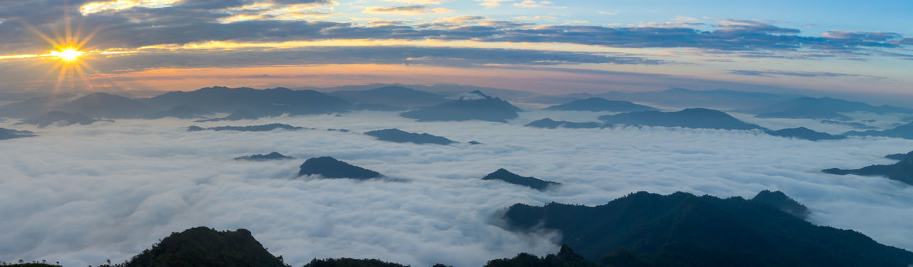 Misty mountains panorama in the morning during sunrise time, Phu Chi Dao Chiangrai Thailand Chiang Rai, Thailand Misty Misty Mountain Morning Light Morning Sky Mountain View Nature Photography Orange Sky Panoramashot Sunrise_Collection Trekking Foggy Morning Hilltop Landscape_photography Misty Morning Misty Mountains  Mountains And Sky Outdoors Panorama View Panoramic Photography Sea Fog Sunnyday Sunrise Sunrise And Clouds Top View