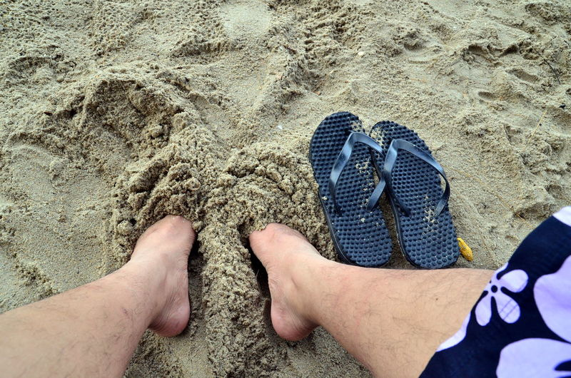 Relaxing at a beach Relaxing Beach Man Sand Vacation Slipper  Feet Holiday Flower Shorts Attraction