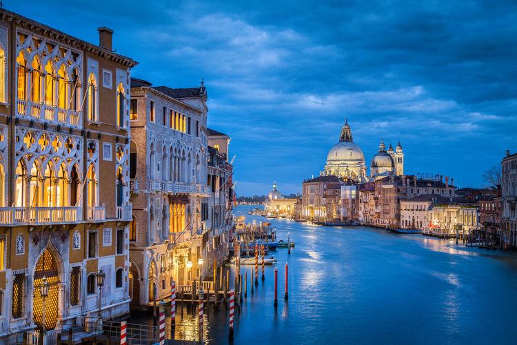 Santa maria della salute and buildings at dusk