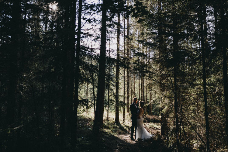 forest Beauty In Nature Day Forest Nature Outdoors People Real People Tree Wedding Wedding Dress Wedding Photography WoodLand