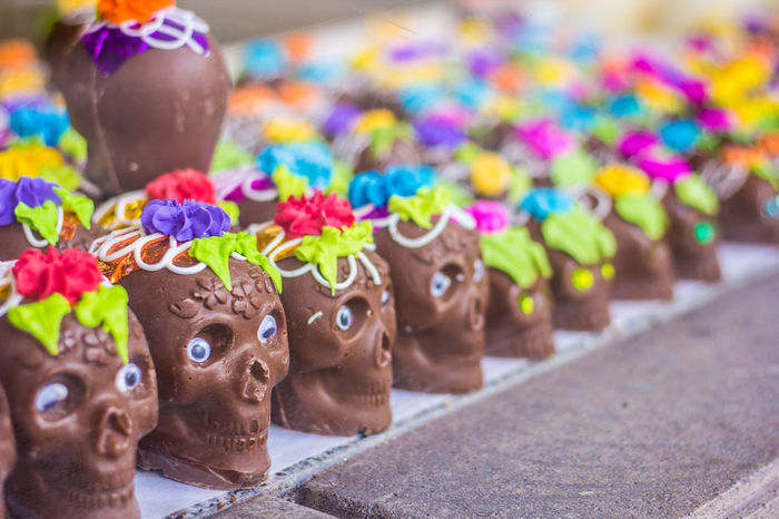 Multi Colored No People Creativity Close-up Art And Craft Representation Sweet Food Temptation Sweet Food Food And Drink Mammal Focus On Foreground Day Indulgence Chocolate Animal Choice Figurine  Toy Calavera De Chocolate Chocolate Dulce Dia De Muertos México
