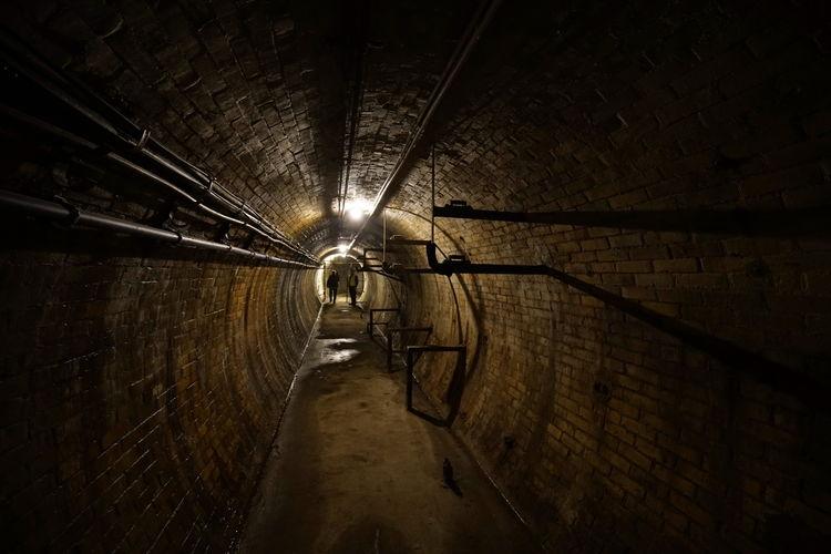 Illuminated Lights In Tunnel