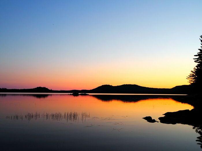 Sunset on a perfect weekend Water Lake Sunset Adirondacks Labor Day Weekend Canoeing