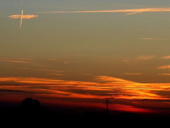 Beauty In Nature Cloud Cloud - Sky Dark Dramatic Sky Horizon Over Land Idyllic Landscape Majestic Nature No People Non-urban Scene Orange Color Outdoors Outline Power Supply Remote Scenics Silhouette Sky Sun Sunset Tranquil Scene