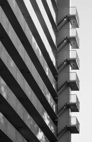 Apartment building in Osdorp Architecture Building Exterior Built Structure Low Angle View No People City Fire Stairs Black & White Gallery Osdorp Shadow And Light Shadows