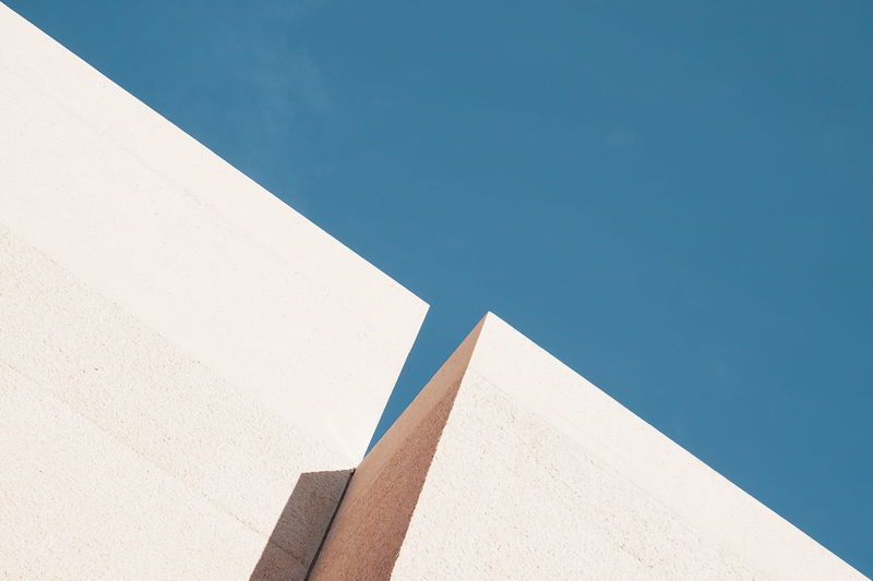 Architecture Built Structure Low Angle View Building Exterior Day Clear Sky Blue Wall - Building Feature Copy Space Building Façade Simplicity Abstract