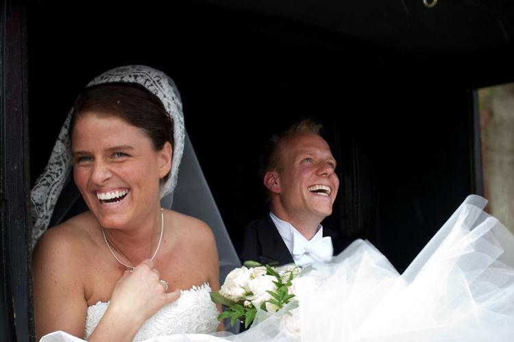 Beginnings Bride Bridegroom Celebration Happiness Husband Newlywed Smiling Togetherness Tuxedo Two People Wedding Wedding Dress Wife