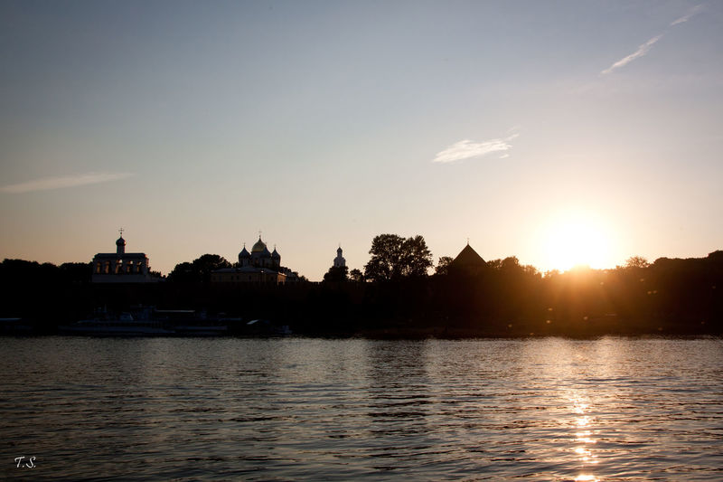 Novgorod Russia Russian Nature Sky Sunset Travel Destinations Volkhov River Water
