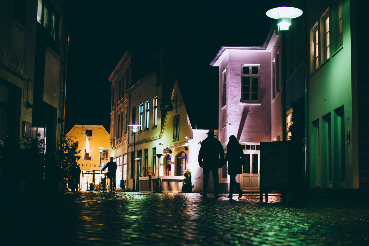 Silhouette couple walking on street amidst houses at night