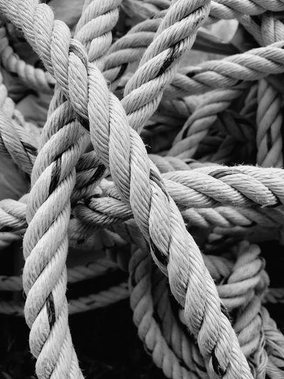 Full frame shot of rope tied on boat