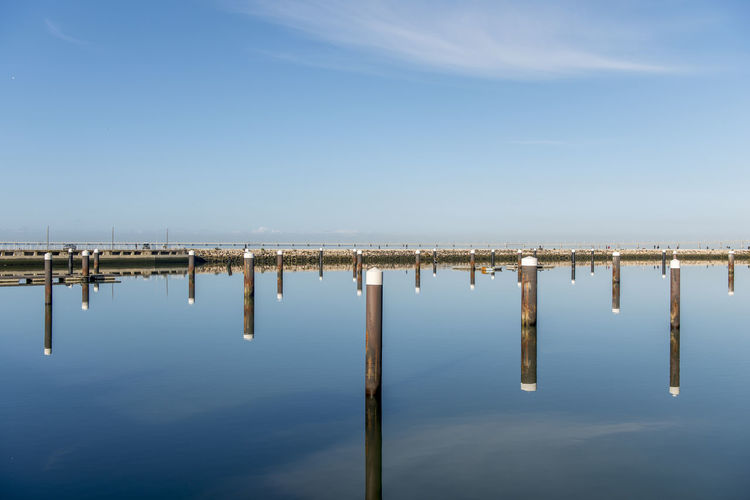 A horizontally perfectly divided image wooden posts perfectly reflected in the absolutely calm water