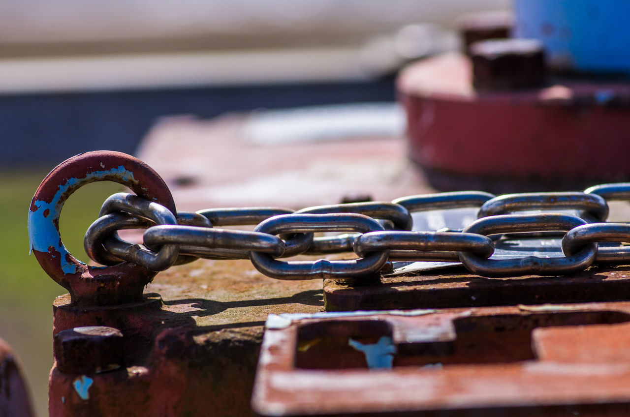 metal, chain, no people, selective focus, close-up, focus on foreground, strength, rusty, still life, day, connection, indoors, safety, old, security, red, iron - metal, hook, protection